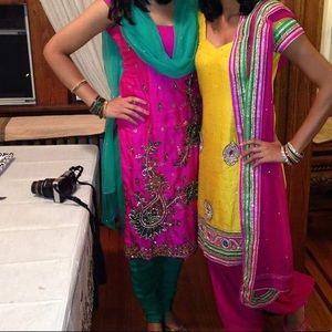 Hot Pink & Green Sleeveless Punjabi Pajami Suit